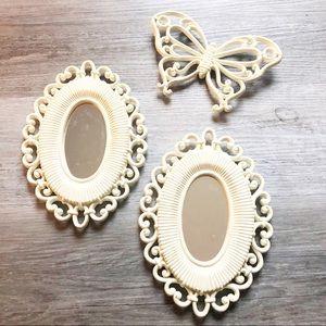 Homco Oval Mirror Butterfly Set Wall Boho Decor